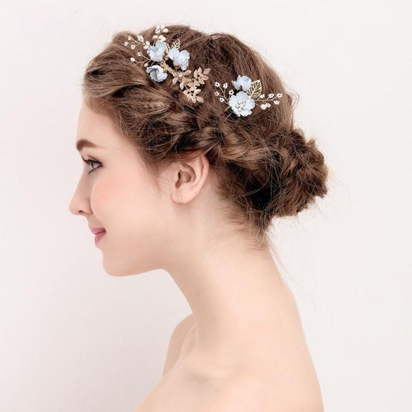 Blue Flower Bridal Hair Comb