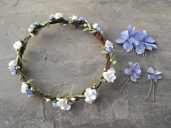 Willow Floral Headband (Ivory/blue)