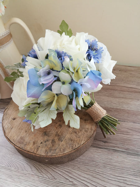 Ivory and Pale Blue Hydrangea Wedding Bouquet