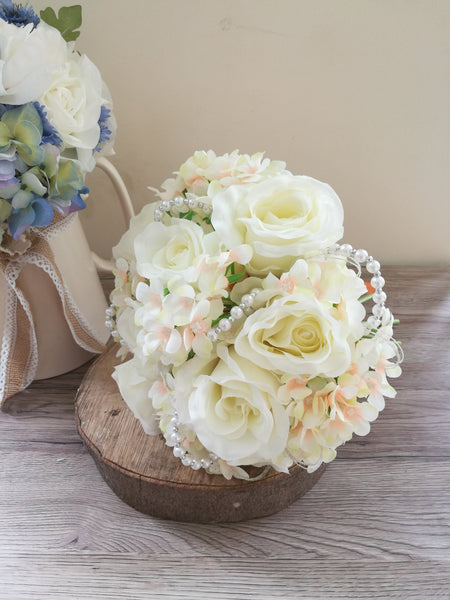 Ivory Rose and Pearl Bead Bridal bouquet