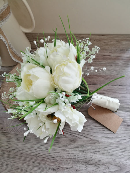 Ivory Peony and Lily of the Valley Bridal Bouquet