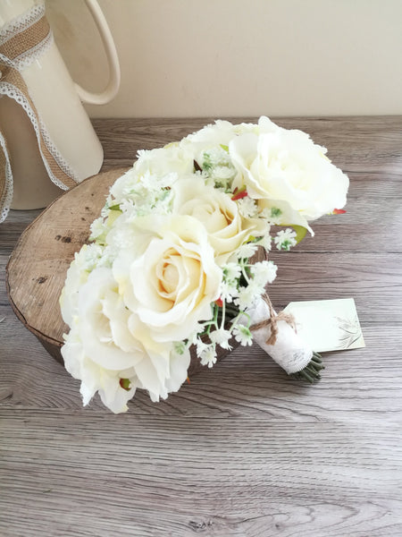 Ivory Rose and Daisy Bridal Bouquet