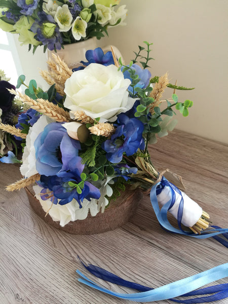 Blue Delphinium silk wedding bouquet