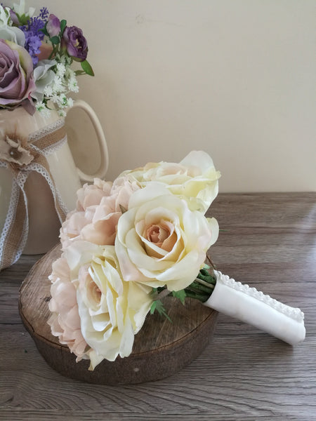Antique Rose and Peony silk wedding bouquet