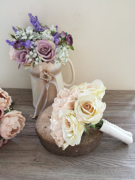 Rose and Peony silk bridal bouquet