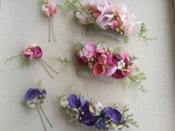 Floral Comb and Hair Pin Set
