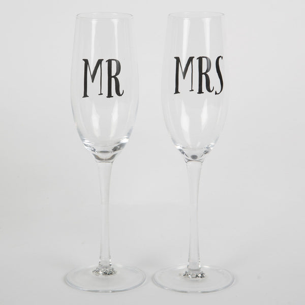 Mr and Mrs Champagne Glasses