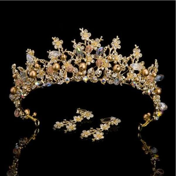 Pink and Gold Handmade Bridal Crown