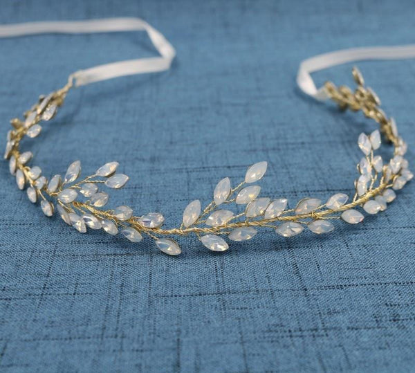 Wisterie - Opal Crystal Hair Vine Gold