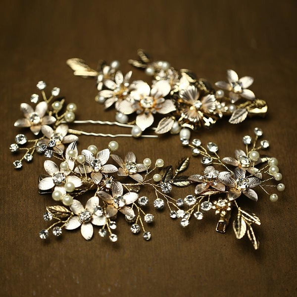 Charming Gold Floral Hair Accessories
