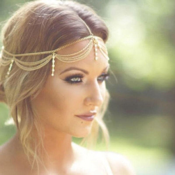 Boho Gold Draping Crystal Hair Chain