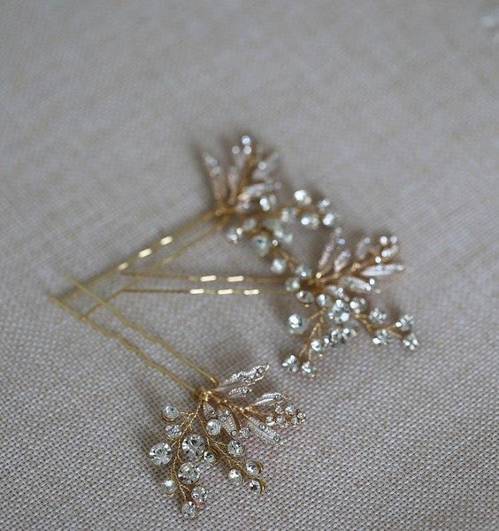 Gold Leaf design Bridal Hair Pins