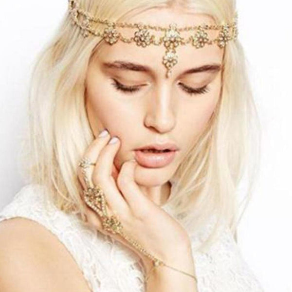 Pearl Tassel Flower Stretch Headband
