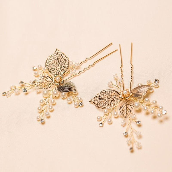 Poppy - Vintage Bridal Hair Pins in gold