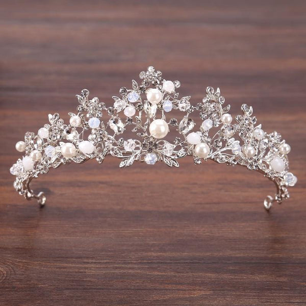White and Silver Beaded Bridal Crown
