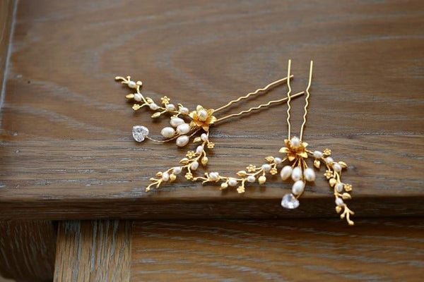 Lucy - Gold Branch Wedding Hair Pins