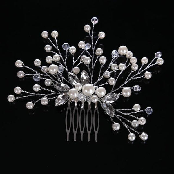 Ivory beaded bridal haircomb