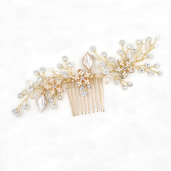 Jodie - Gold Floral Bridal Hair Comb