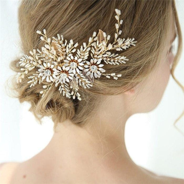 Gold Flower Bridal Hair Comb