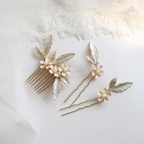 Anavella - bridal hair comb and hair pin set