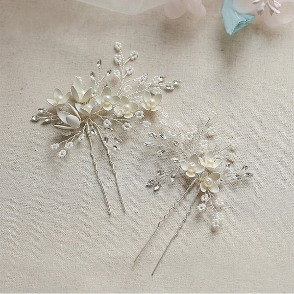 Faye -  Silver Floral Bridal hairpins