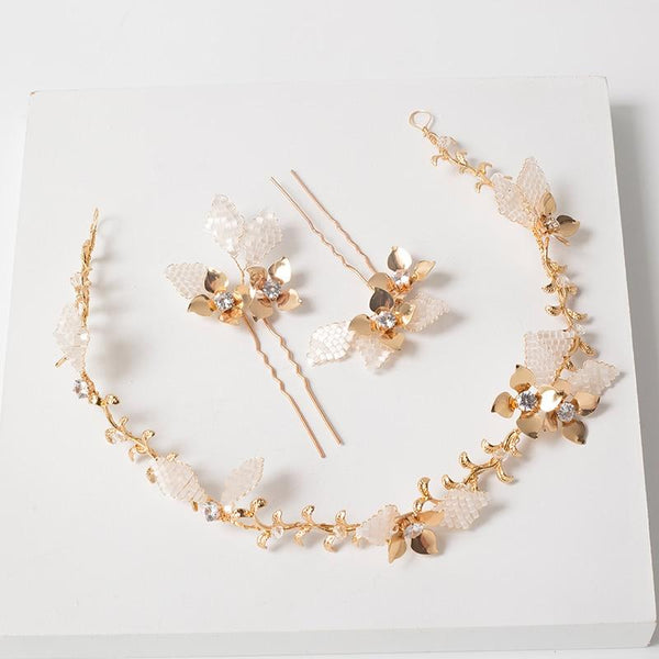 Gold bridal hairvine and hair pin set