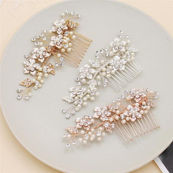 Ruby - Rose Gold Flower Bridal Hair Comb