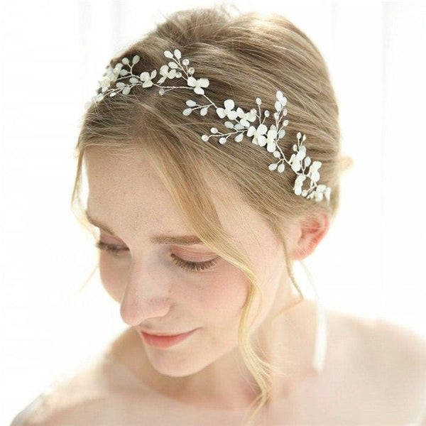 Prudence - White Flower Bridal Headpiece