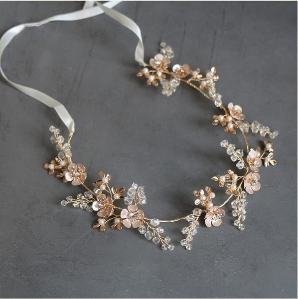 Zoe -  Gold Flower Bridal Hair Vine