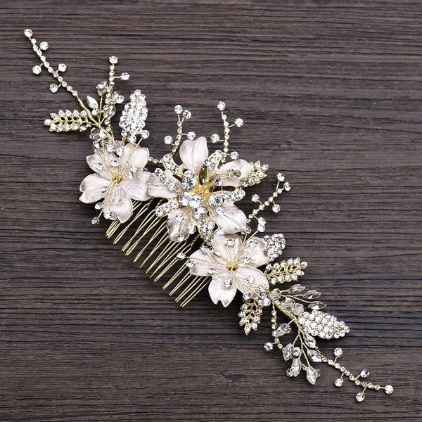 Jolene - Gold Floral Wedding Hair Comb
