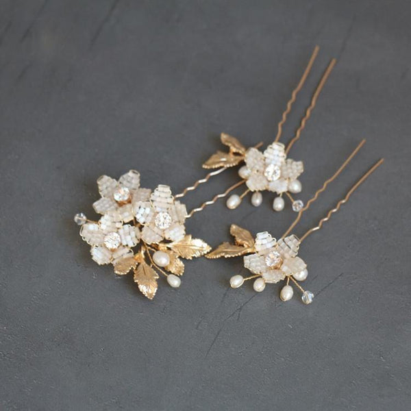 Gold and Ivory Floral beaded bridal hairpins