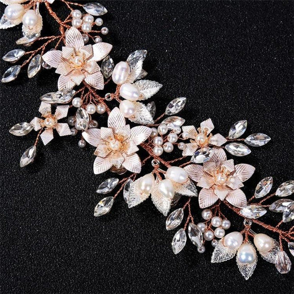 Rhiannon - Rose Gold Flower Headpiece