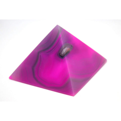 Dyed Pink Agate Carved Crystal Pyramid