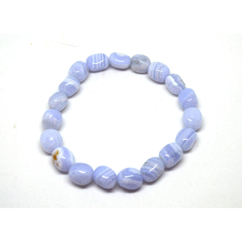 Blue Lace Agate Tumbled Crystal Bracelet