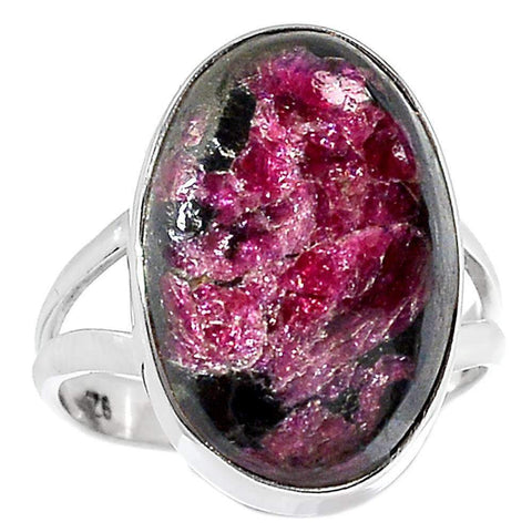Eudialyte 925 Sterling Silver Crystal Ring Size 9