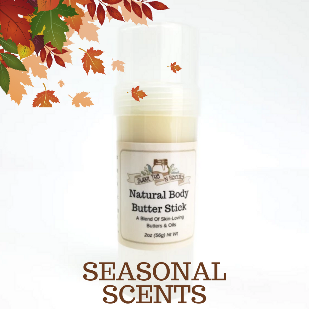 SEASONAL SCENTS - Scented Natural Body Butter Sticks - Made With Organic & Fair Trade Oils