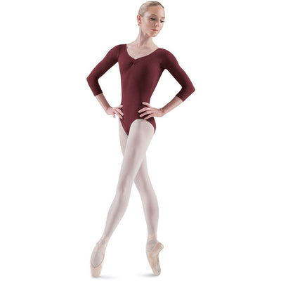 Adult Pinch Front 3/4 Sleeve Leotard