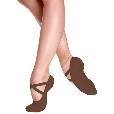 Child Bliss Stretch Canvas Ballet Shoe - Mocha and Sand
