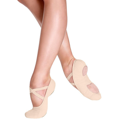Adult Bliss Stretch Canvas Ballet Shoe - Nude and Mocha