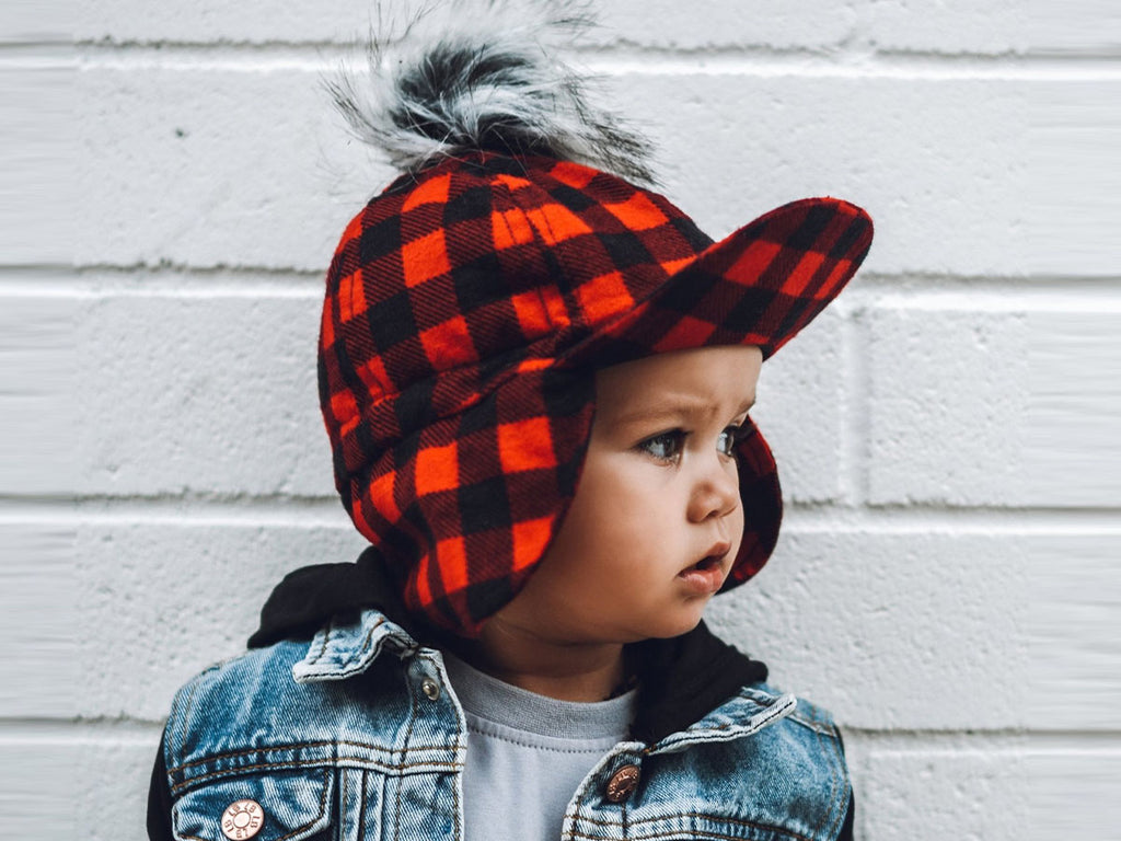 buffalo plaid flannel hat with faux fur pom on toddler