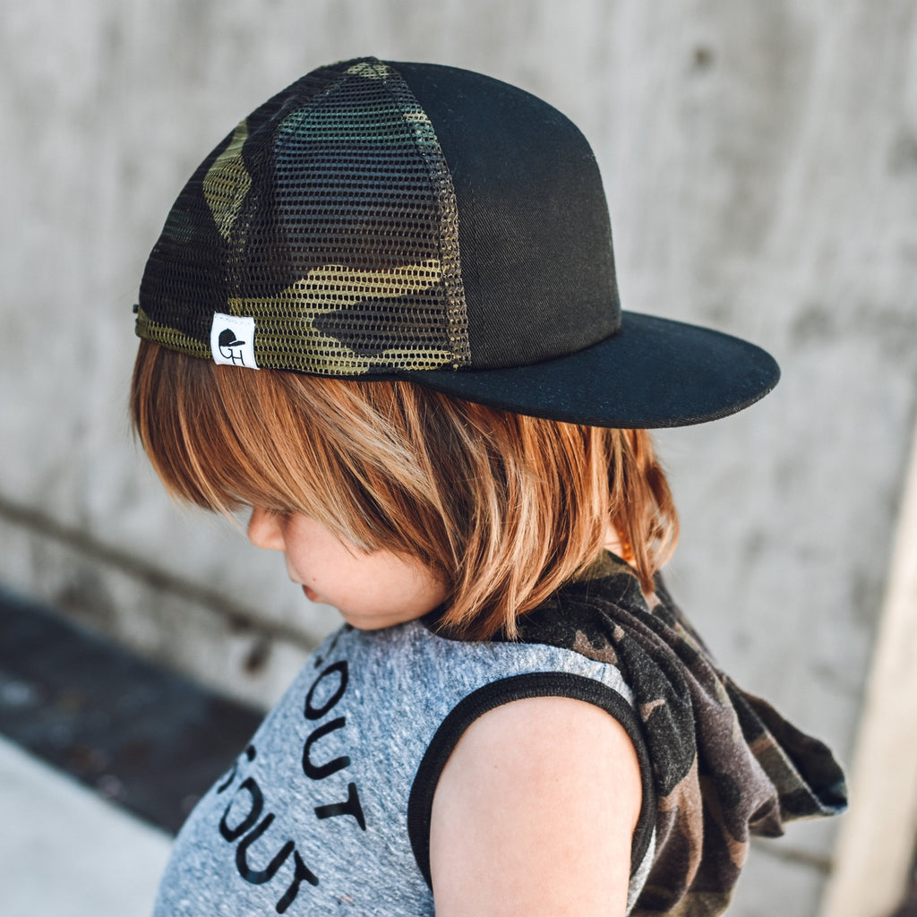Black Camo Mesh Trucker - George Hats