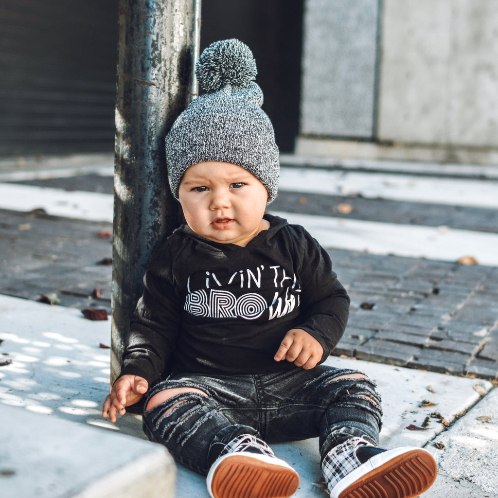 Black Marled Pom Beanie For Kids - George Hats