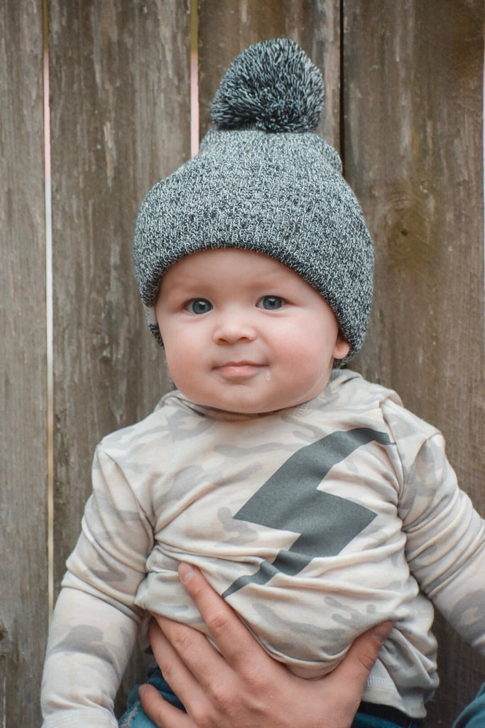 Black Marled Pom Beanie For Babies - George Hats
