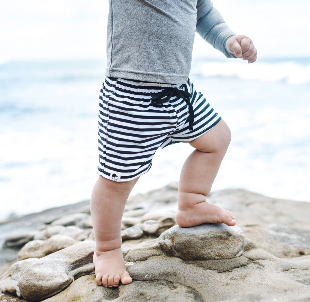 Black Stripe Swim Shorts - George Hats
