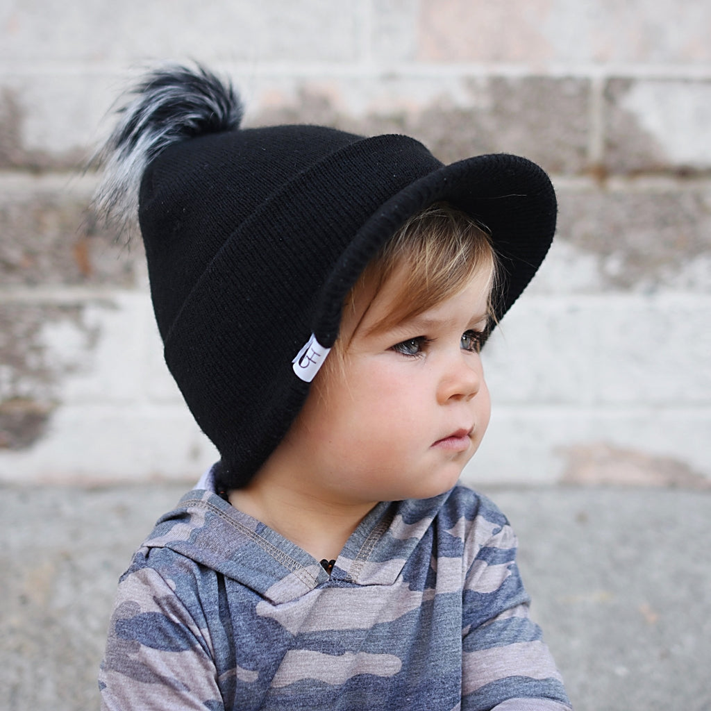 Black Visor Beanie - George Hats