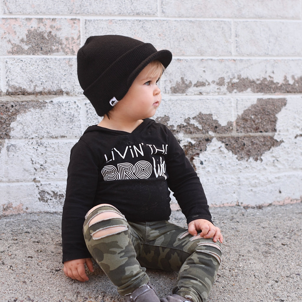 Black Visor Beanie For Toddlers - George Hats