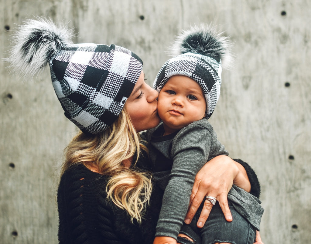 Black White Plaid Beanie - George Hats