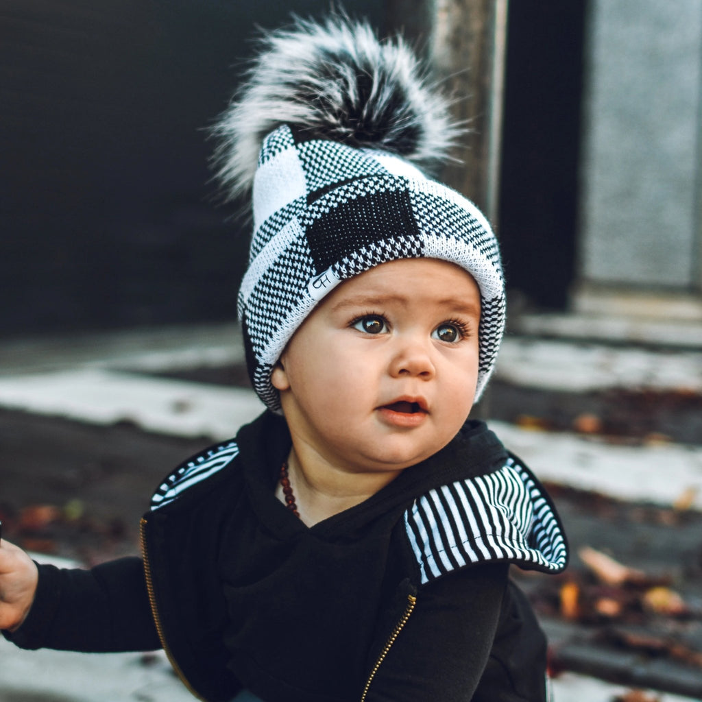 Black and White Plaid Beanie - George Hats