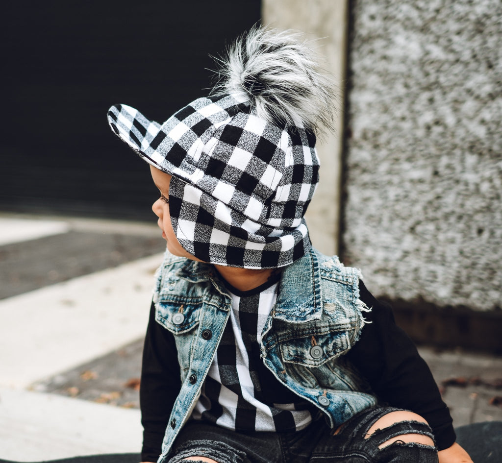 Black White Plaid Flannel Hat - George Hats