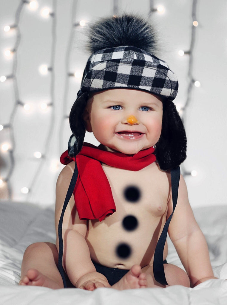 Black White Plaid Pom Hat - George Hats